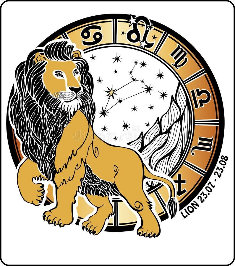Signe de zodiaque de Lion. Cercle d'horoscope. Vecteur Illustrati illustration stock