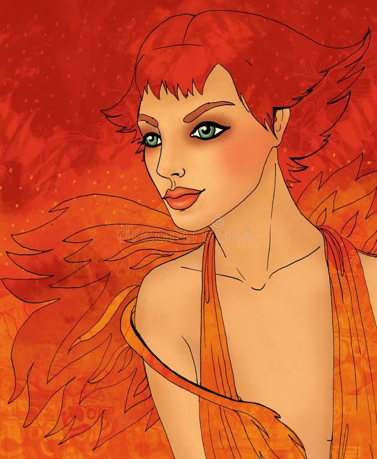 Signe de zodiaque de Lion en tant que belle fille illustration stock