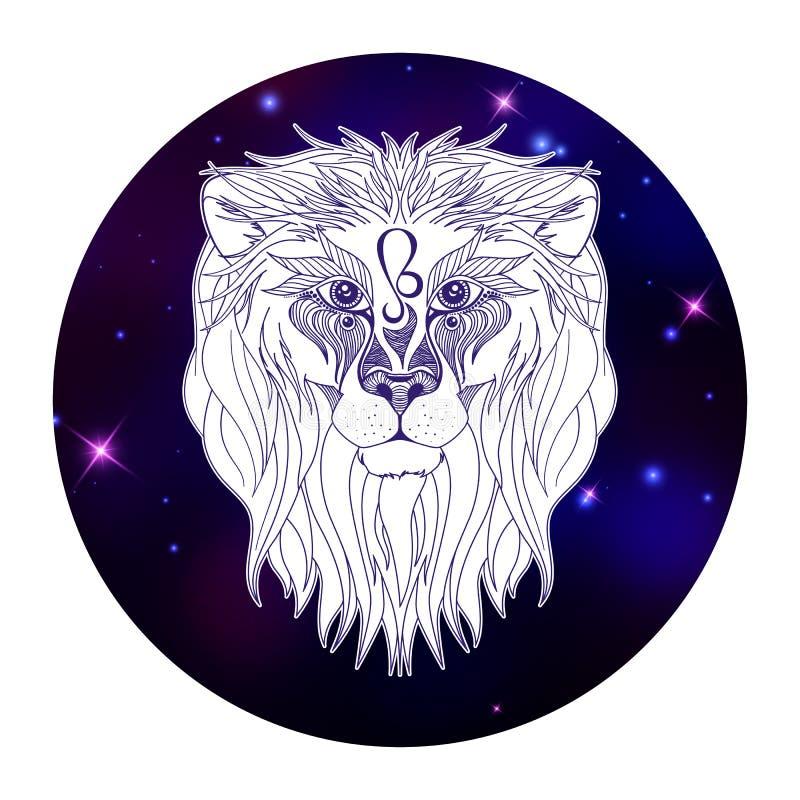 Signe de zodiaque de Lion, symbole d'horoscope, illustration de vecteur illustration de vecteur