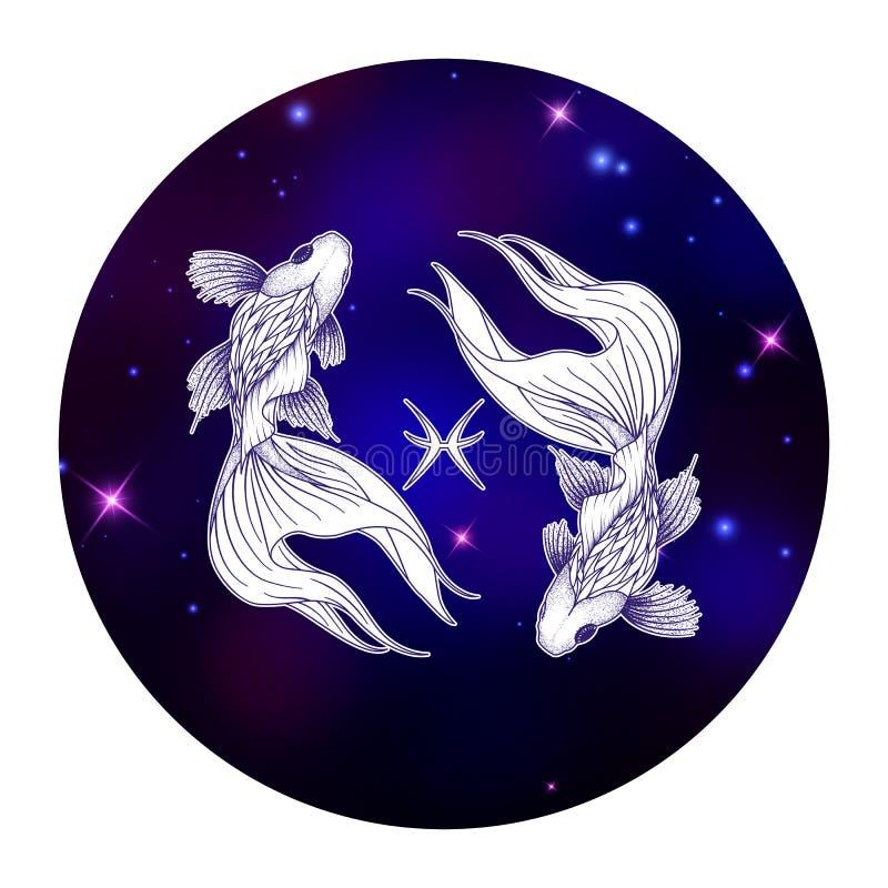 Signe de zodiaque de Poissons, symbole d'horoscope, illustration de vecteur illustration libre de droits