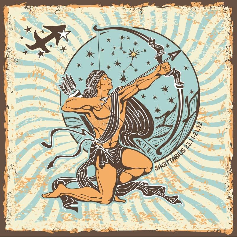 Signe de zodiaque de Sagittaire Carte d'horoscope de vintage illustration stock