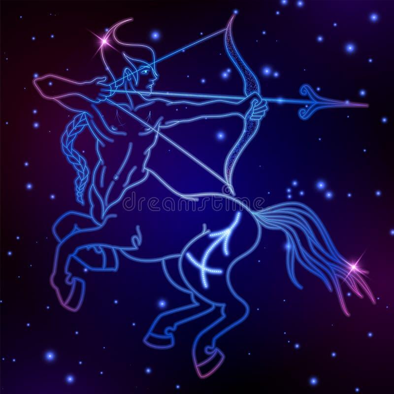 Signe de zodiaque de Sagittaire, symbole d'horoscope, illustration de vecteur illustration stock