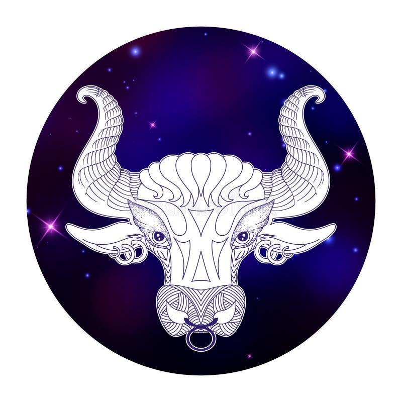Signe de zodiaque de Taureau, symbole d'horoscope, illustration de vecteur illustration stock
