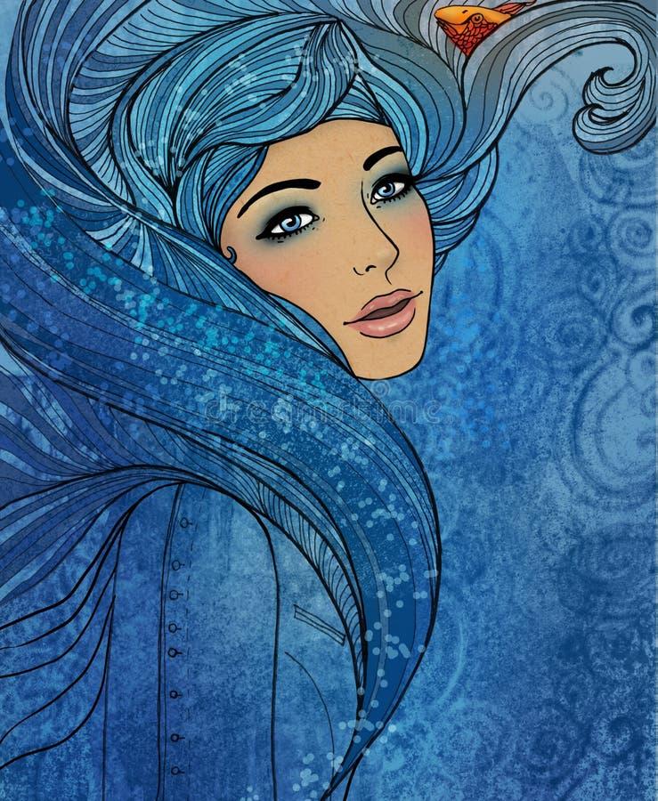 Signe de zodiaque de Verseau en tant que belle fille illustration stock