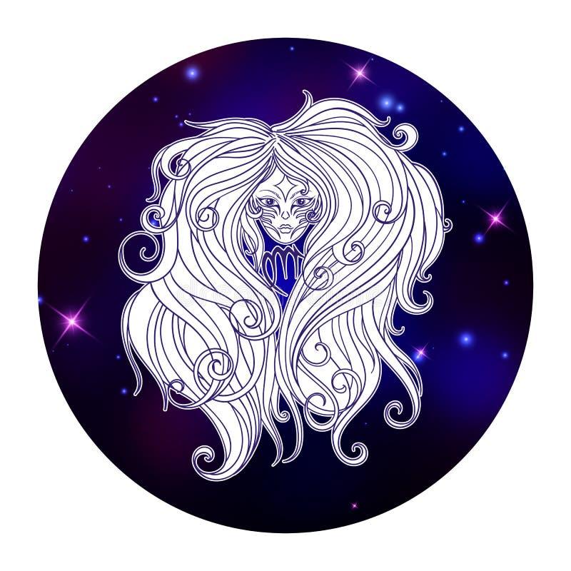 Signe de zodiaque de Vierge, symbole d'horoscope, illustration de vecteur illustration de vecteur