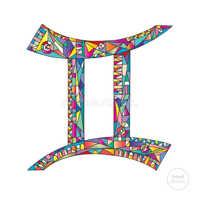 Signe de zodiaque de Gémeaux Illustration d'horoscope Série tirée par la main astrologique Symbole magique lumineux coloré dans l illustration de vecteur