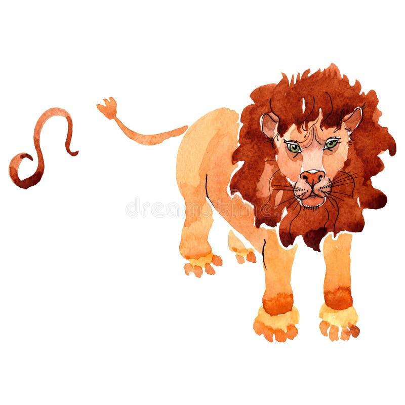 Signe de zodiaque de Lion, symbole d'astrologie Ensemble d'illustration de fond d'aquarelle r illustration stock