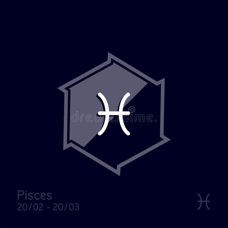 Signe de zodiaque de Poissons Illustration de vecteur de symbole d'astrologie illustration libre de droits