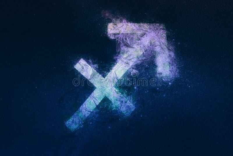 Signe de zodiaque de Sagittaire Fond de ciel nocturne illustration stock