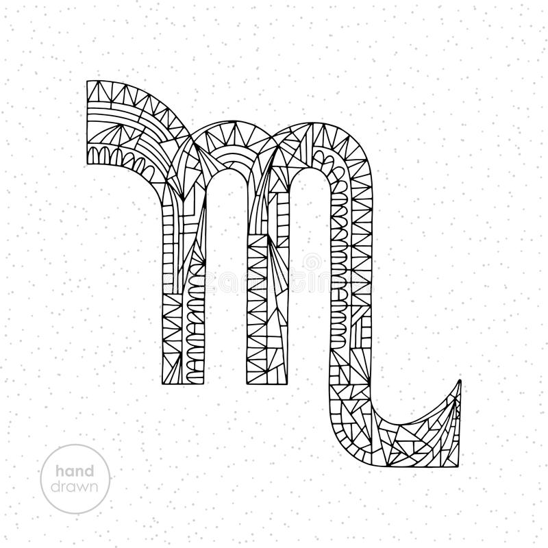 Signe de zodiaque de Scorpion Illustration tirée par la main d'horoscope de vecteur Page astrologique de coloration illustration stock