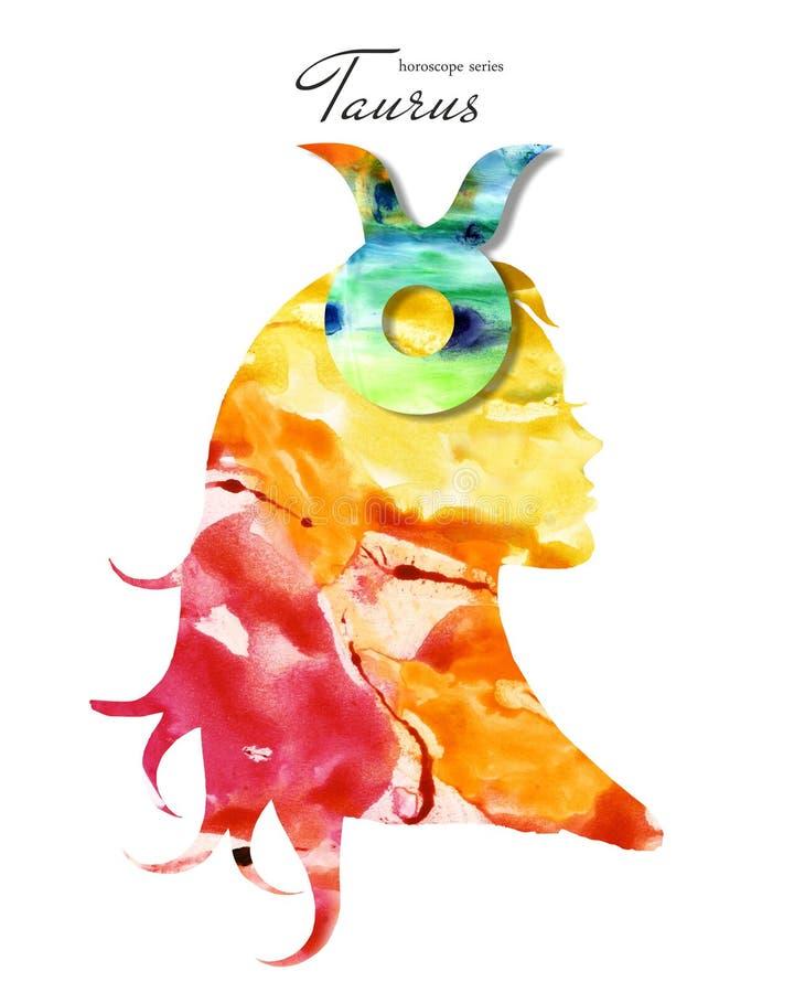 Signe de zodiaque de Taureau Belle silhouette de fille Illustration d'aquarelle S?rie d'horoscope illustration de vecteur