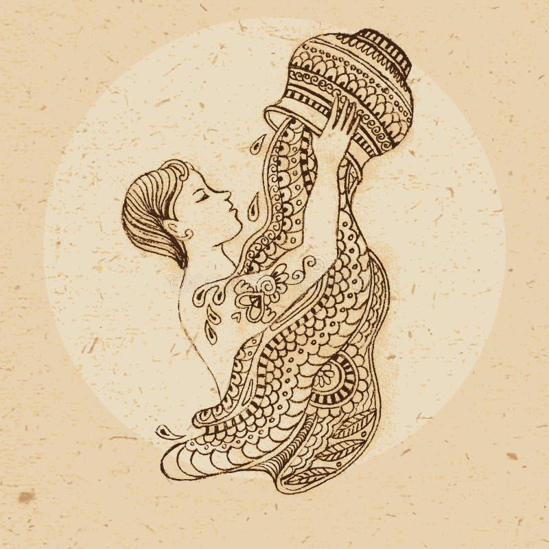 Signe de zodiaque - Verseau illustration libre de droits