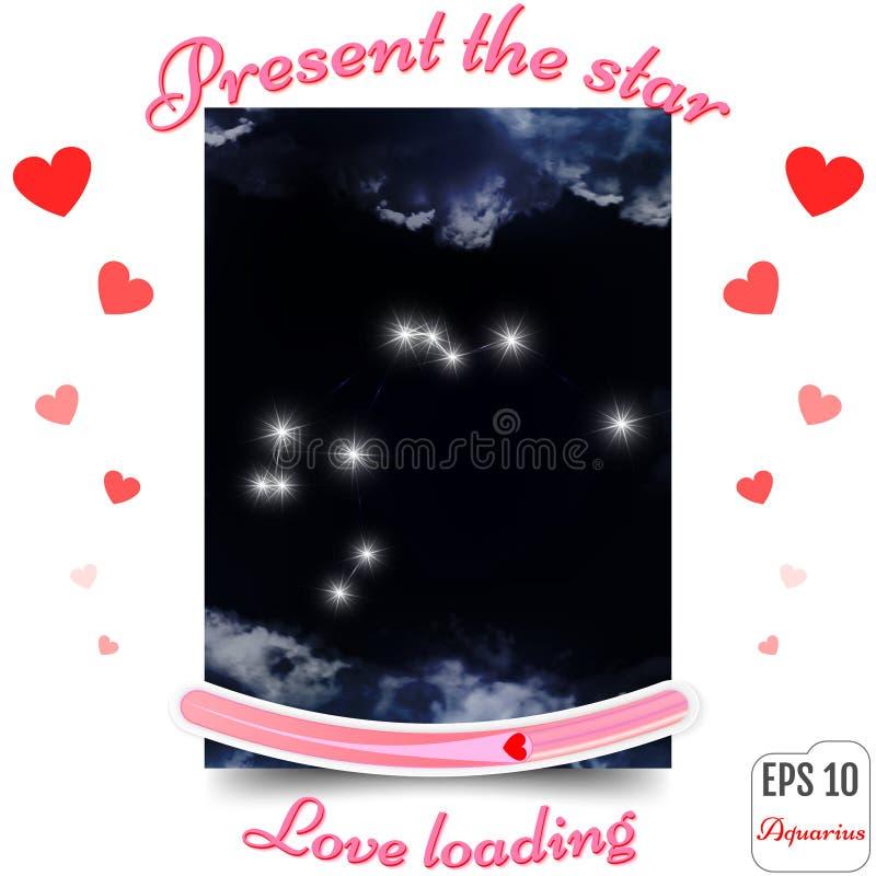 Signe de zodiaque de Verseau Constellation d'horoscope de Verseau, étoiles P illustration de vecteur