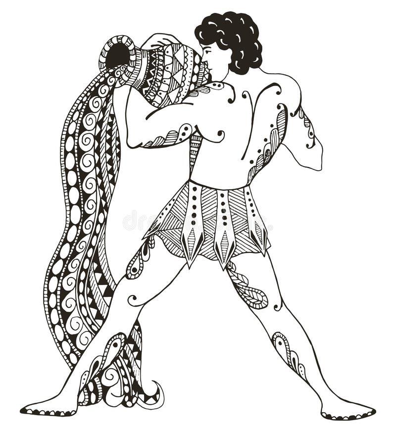 Signe de zodiaque - Verseau Jeune homme avec la grande amphore Outp de l'eau illustration stock