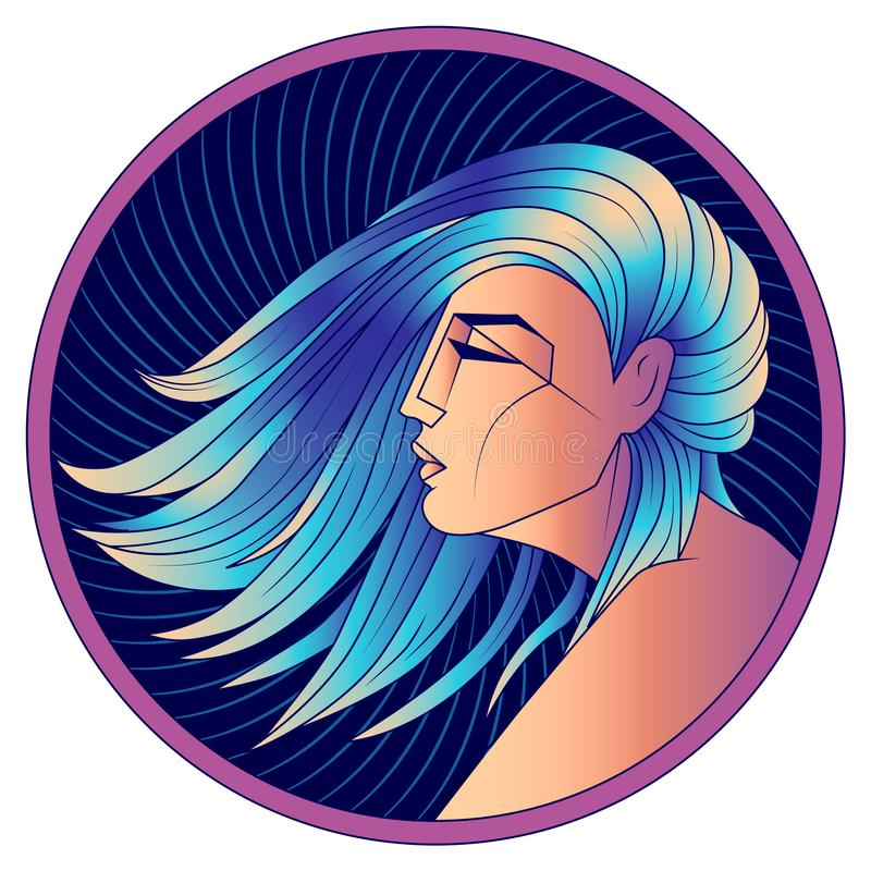 Signe de zodiaque de Vierge, femme avec les cheveux bleus, vecteur illustration stock