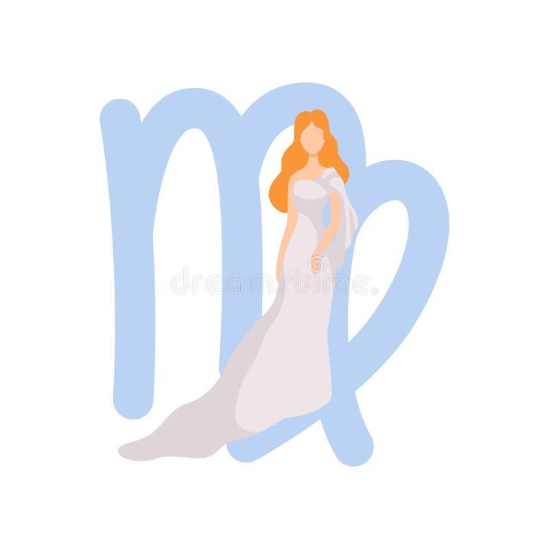 Signe de zodiaque de Vierge, vêtements de port de jeune belle femme dans le style de l'illustration de vecteur de Grèce antique illustration de vecteur