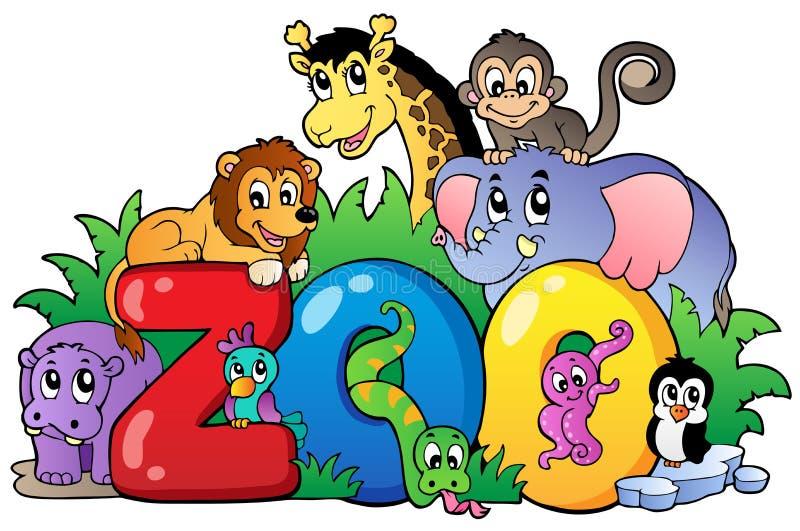 Signe de zoo avec de divers animaux illustration libre de droits