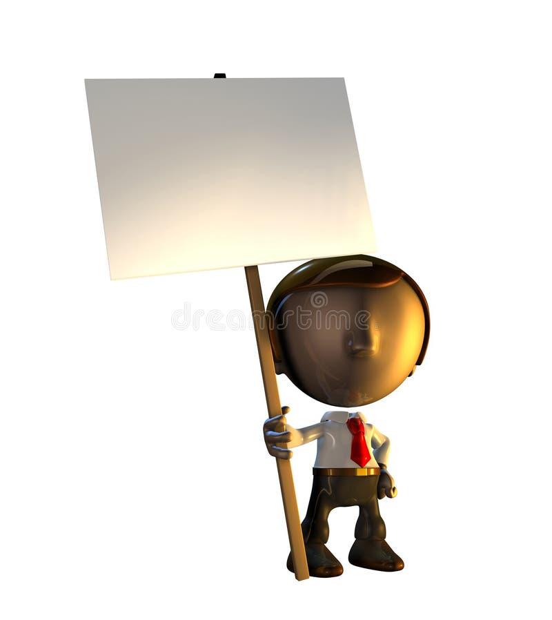 signe debout de fixation de caractère d'homme des affaires 3d illustration libre de droits