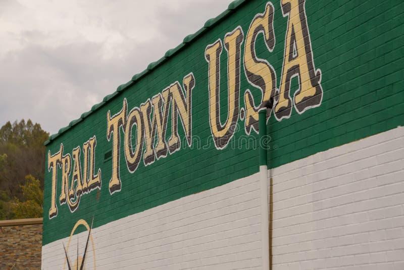 Signe des Etats-Unis Damas la Virginie de ville de traînée photographie stock libre de droits