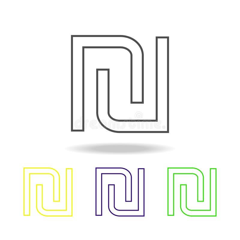 signe des icônes multicolores de shekel Ligne mince icône pour la conception de site Web et le développement d'appli Icône coloré illustration libre de droits