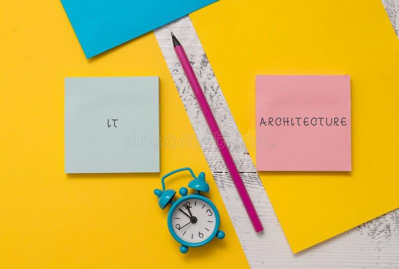 Signe des textes lui montrant l'architecture L'architecture conceptuelle de photo est appliquée au processus des blocs-notes glob images stock