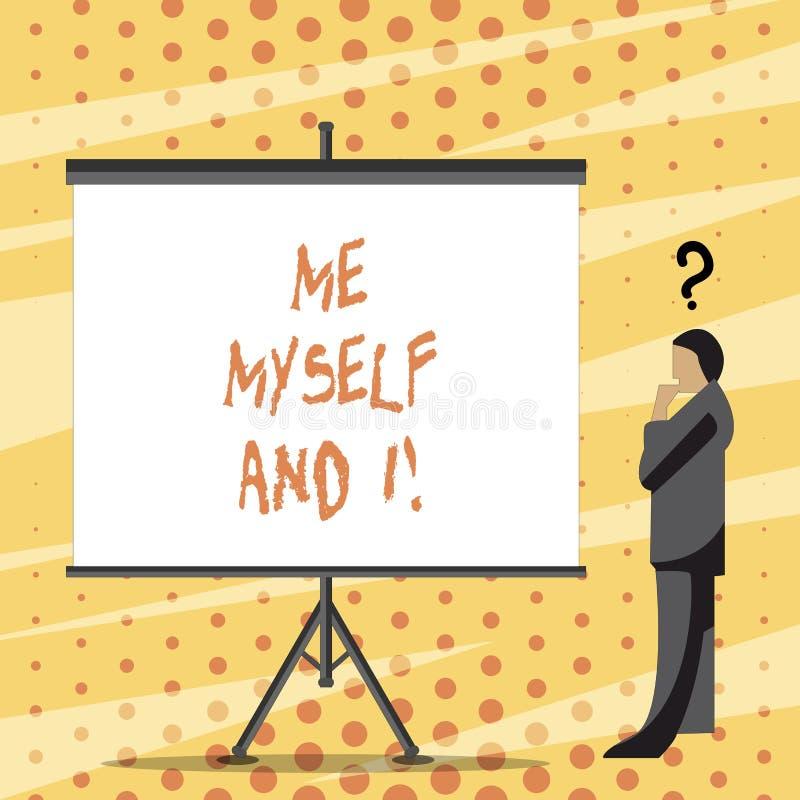 Signe des textes me montrant moi-même et I Responsabilité de prise selfindependent égoïste de photo conceptuelle des actions illustration stock