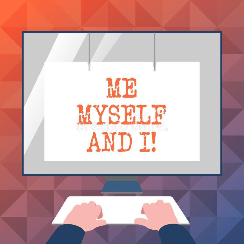 Signe des textes me montrant moi-même et I Responsabilité de prise selfindependent égoïste de photo conceptuelle des actions illustration libre de droits