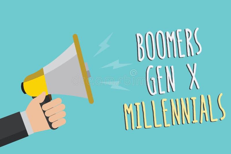 Signe des textes montrant à boomers la GEN X Millennials La photo conceptuelle généralement considérée environ trente ans équipen illustration de vecteur