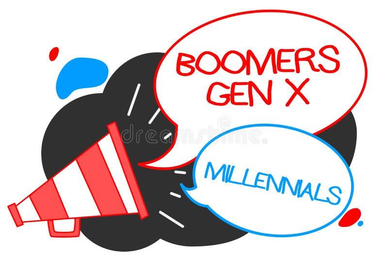 Signe des textes montrant à boomers la GEN X Millennials Photo conceptuelle généralement considérée environ trente ans de haut-pa illustration libre de droits