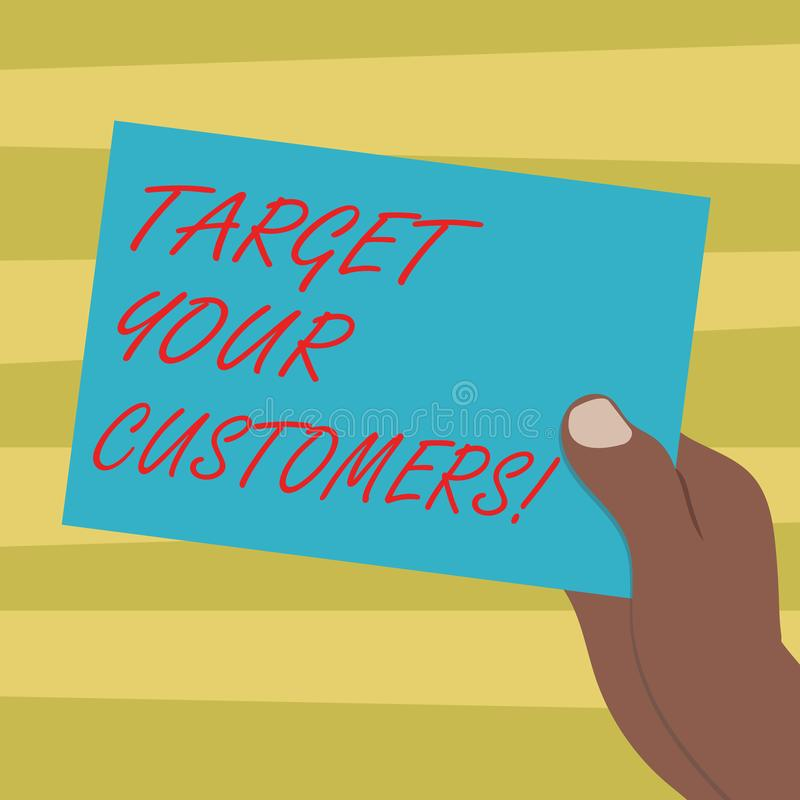 Signe des textes montrant à cible vos clients But conceptuel de photo ces clients qui sont le plus susceptibles d'acheter de vous illustration libre de droits