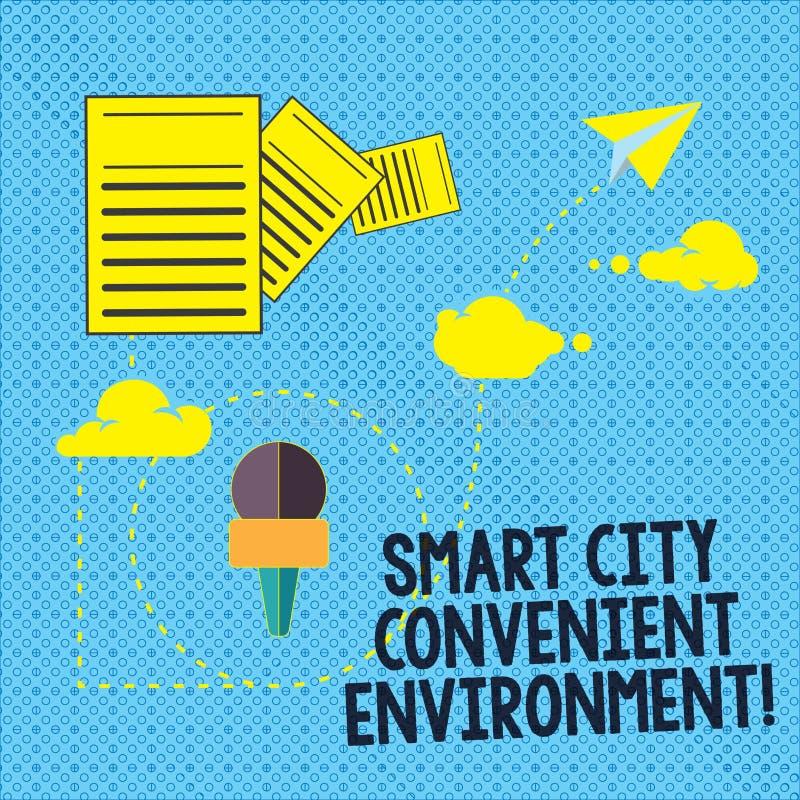 Signe des textes montrant à Smart City l'environnement commode La photo conceptuelle a relié l'information moderne technologique  illustration libre de droits