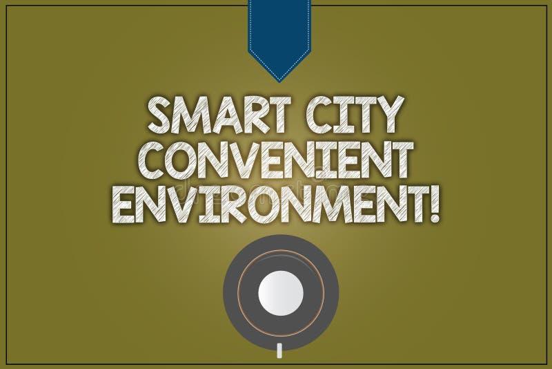 Signe des textes montrant à Smart City l'environnement commode La photo conceptuelle a relié la tasse de café moderne technologiq illustration de vecteur