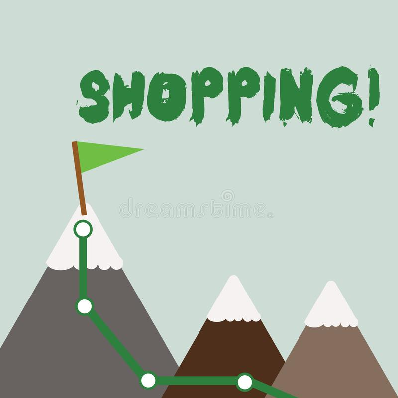 Signe des textes montrant des achats Les produits conceptuels de marchandises d'achat de client de client de photo stockent des m illustration libre de droits