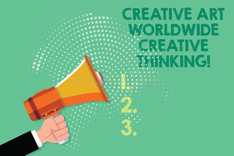 Signe des textes montrant Art Worldwide Creative Thinking créatif Mâle moderne global HU de conception de créativité de photo con illustration libre de droits