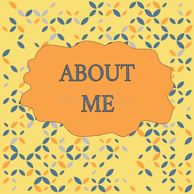 Signe des textes montrant au sujet de moi Photo conceptuelle indiquant à quelqu'un la liste de vos bons et mauvais traits et évén illustration stock