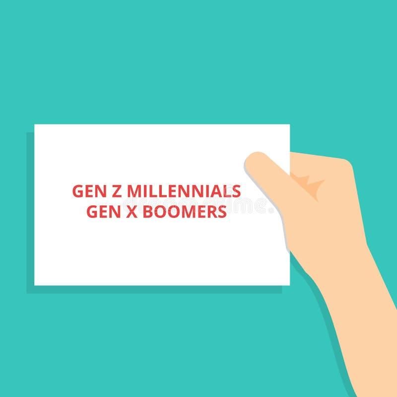 Signe des textes montrant des boomers de GEN Z Millennials Gen X illustration stock