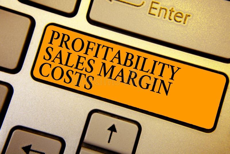 Signe des textes montrant des coûts de marge de ventes de rentabilité Les revenus conceptuels de revenus d'entreprise de photo éc photos libres de droits