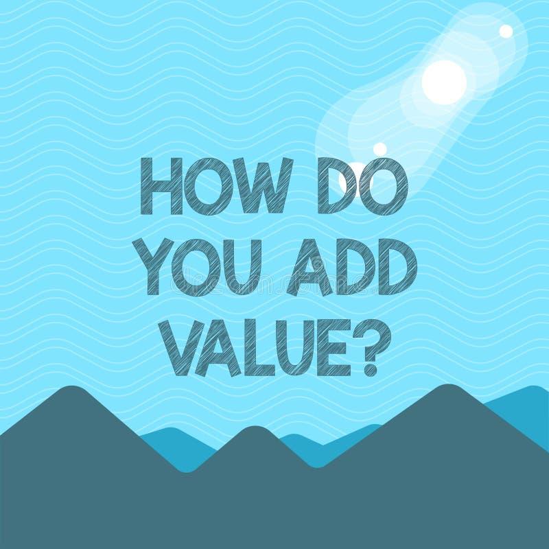 Signe des textes montrant comment vous ajoutez Valuequestion La photo conceptuelle apportent le progrès d'affaires pour contribue illustration libre de droits