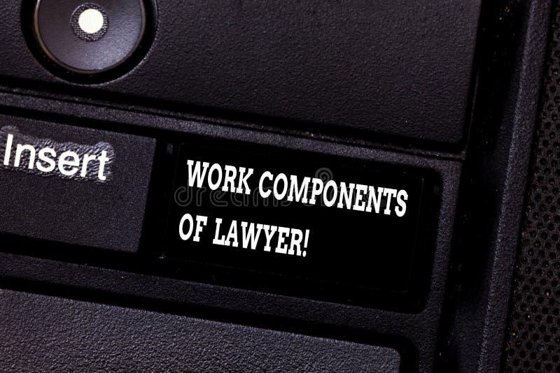 Signe des textes montrant des composants de travail d'avocat Clé de clavier conceptuelle d'accords de décisions de documents de l photographie stock
