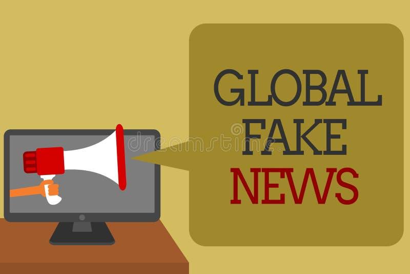 Signe des textes montrant de fausses actualités globales Media faux de Social de canular de désinformation de mensonges de journa illustration libre de droits