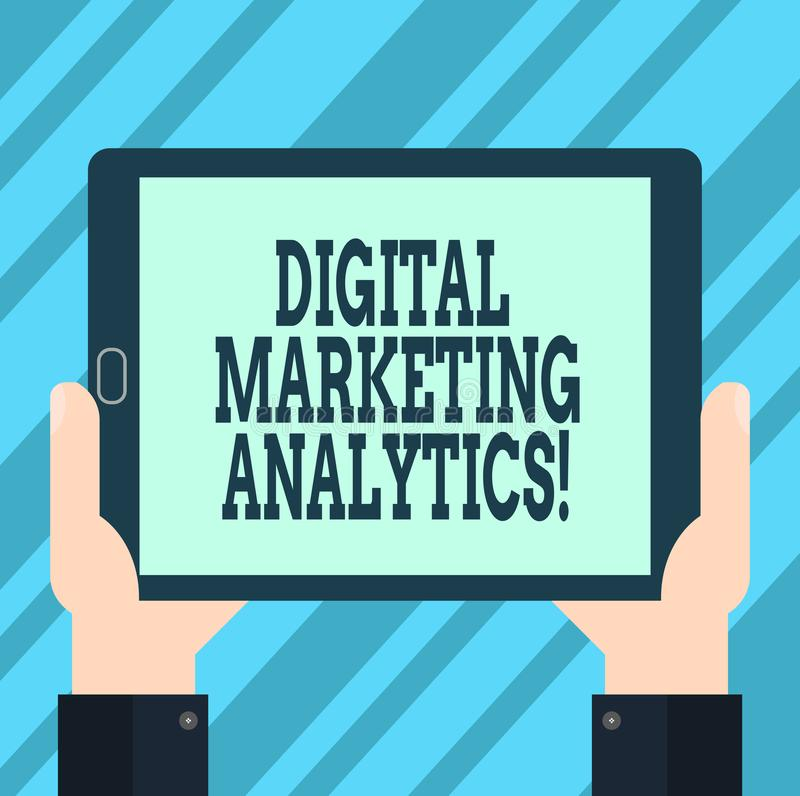 Signe des textes montrant Digital lançant l'Analytics sur le marché Métrique conceptuelle d'affaires de mesure de photo comme le  illustration de vecteur