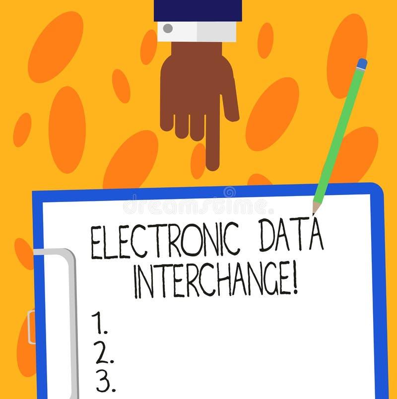 Signe des textes montrant l'échange de données électroniques Transfert conceptuel de photo des données à partir d'un ordinateur d illustration de vecteur