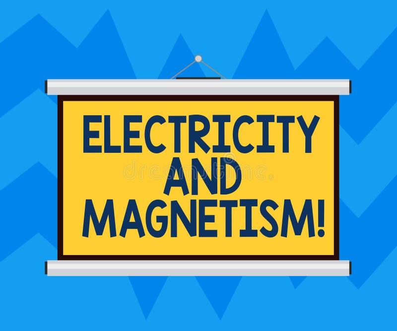 Signe des textes montrant l'électricité et le magnétisme La photo conceptuelle incarne un mur portatif de blanc à un noyau de for illustration stock