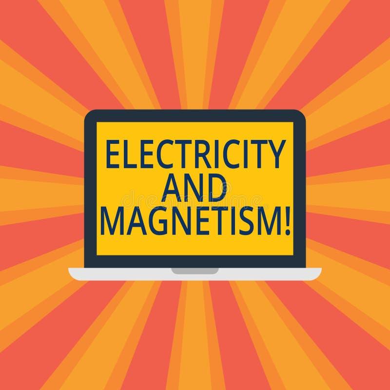 Signe des textes montrant l'électricité et le magnétisme La photo conceptuelle incarne un ordinateur portable à un noyau de force illustration libre de droits