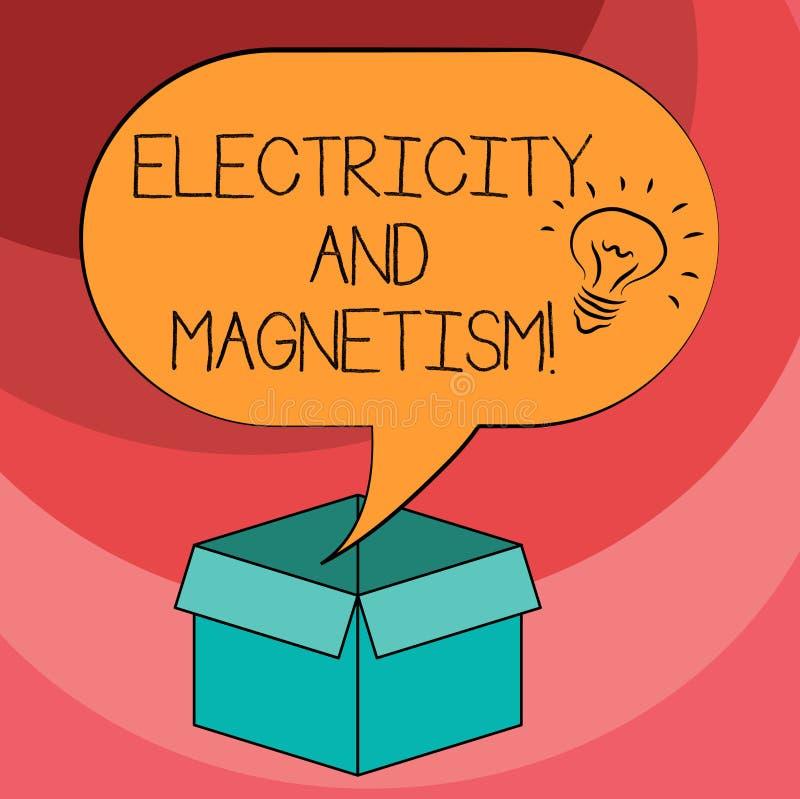 Signe des textes montrant l'électricité et le magnétisme La photo conceptuelle incarne une icône à un noyau d'idée de force élect illustration stock