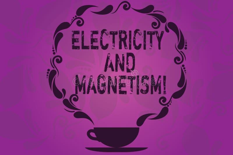 Signe des textes montrant l'électricité et le magnétisme La photo conceptuelle incarne une tasse et soucoupe à un noyau de force  illustration stock