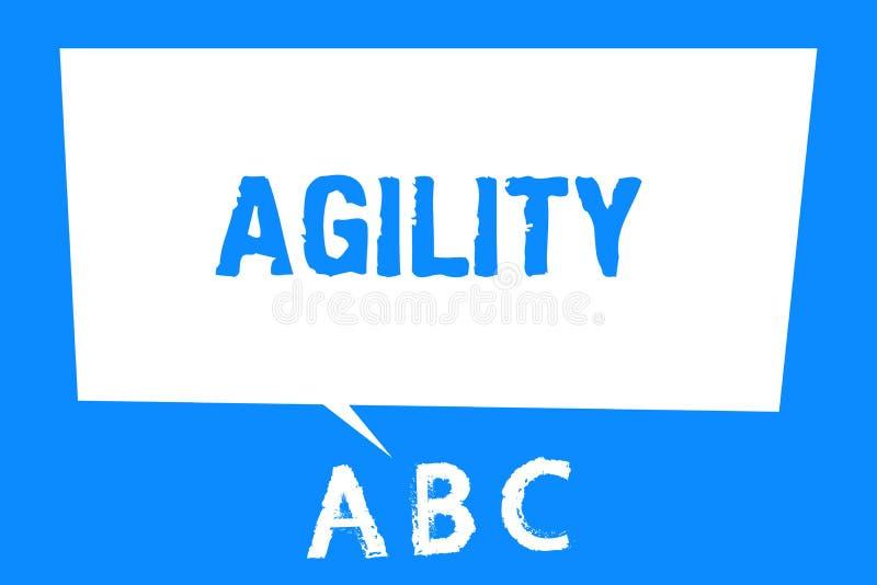 Signe des textes montrant l'agilité La capacité conceptuelle de photo de se déplacer pensent comprennent rapidement et facilement illustration libre de droits