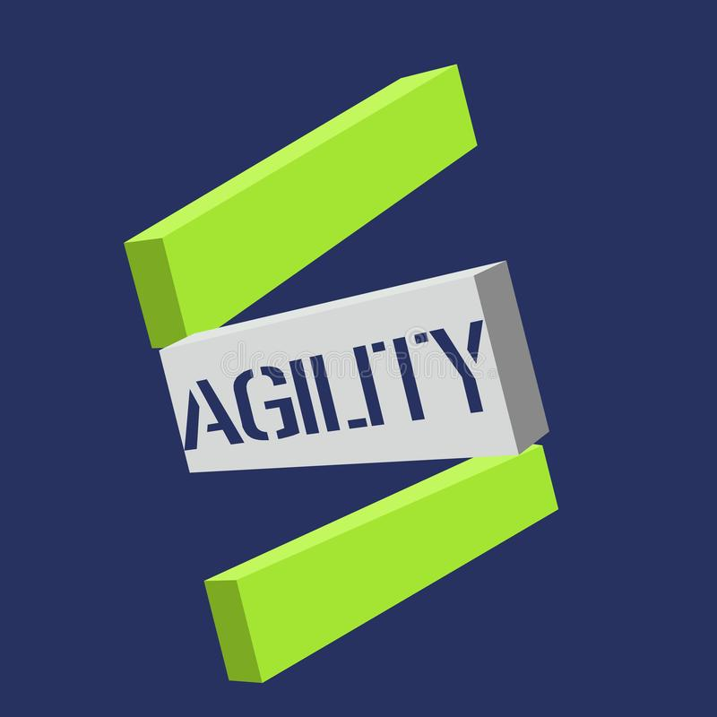 Signe des textes montrant l'agilité La capacité conceptuelle de photo de se déplacer pensent comprennent rapidement et facilement illustration stock