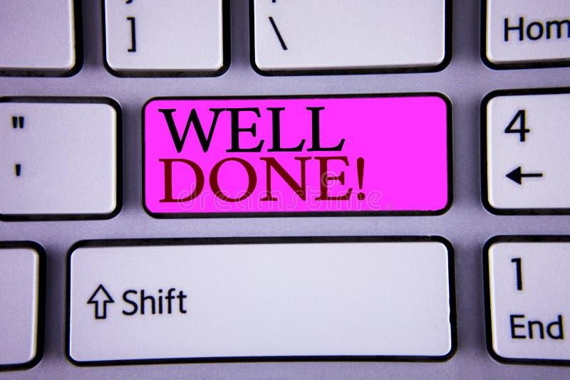 Signe des textes montrant l'appel de motivation bien fait Photos conceptuelles bon Job Great Results Positive Evaluation image libre de droits