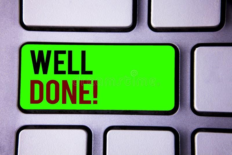 Signe des textes montrant l'appel de motivation bien fait Photos conceptuelles bon Job Great Results Positive Evaluation photos stock